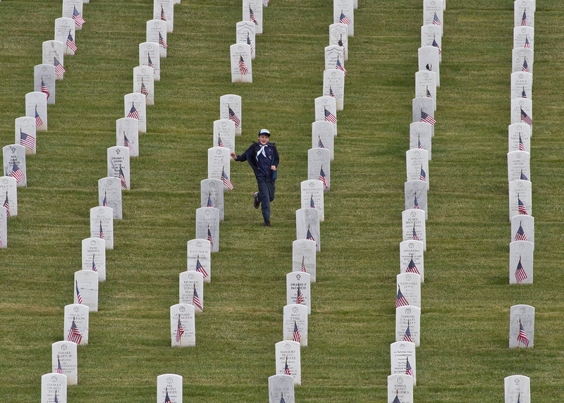 SCOUTS PLACE FLAGS AT GOLDEN GATE NATIONAL CEMETERY