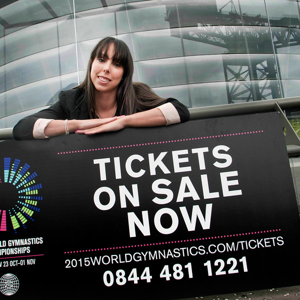 Launch of ticket sales at The SSE Hydro for The World Gymnastic Championships.Ambassador and Three times world champion and Olympic medallist Beth Tweddle in front af Hydro.