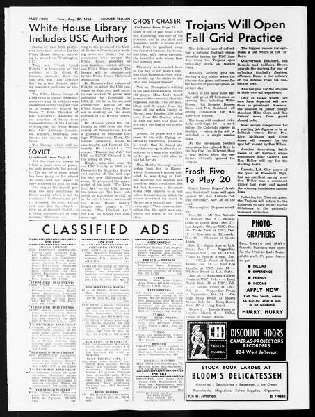 Summer Trojan, Vol. 13, No. 14, August 27, 1963