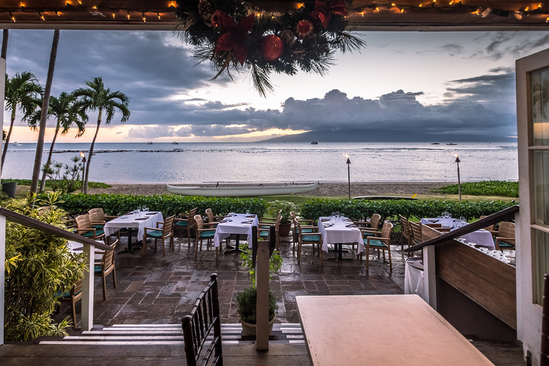 Dinner at Pacific'O in Lahaina, it was wonderful.  It had rained just before we got there so the patio was soaked.  We got to sit right by the door for this view, though.