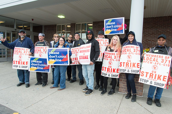 04/11/19 Wesley Bunnell | Staff Stop & Shop workers on strike stand near the entrances to the store in New Britain on Thursday afternoon.