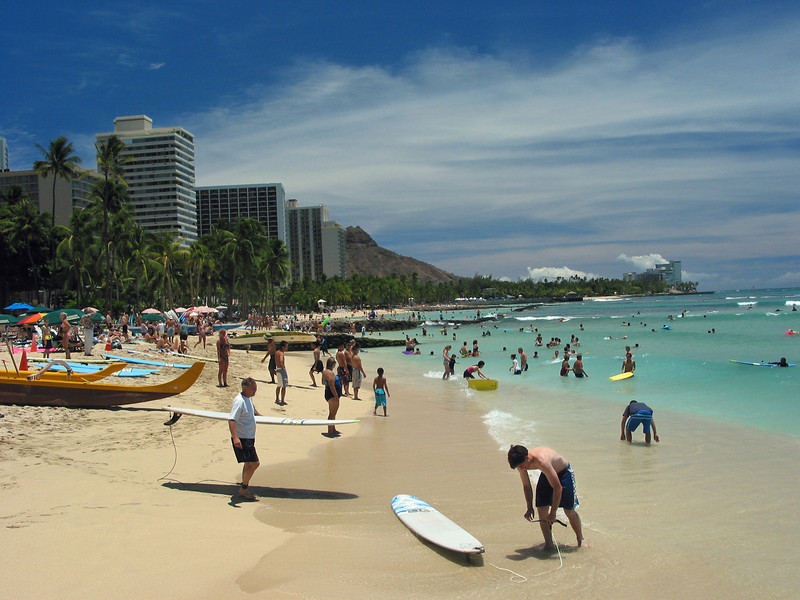 The main beach at Waikiki looking towards Diamond Head