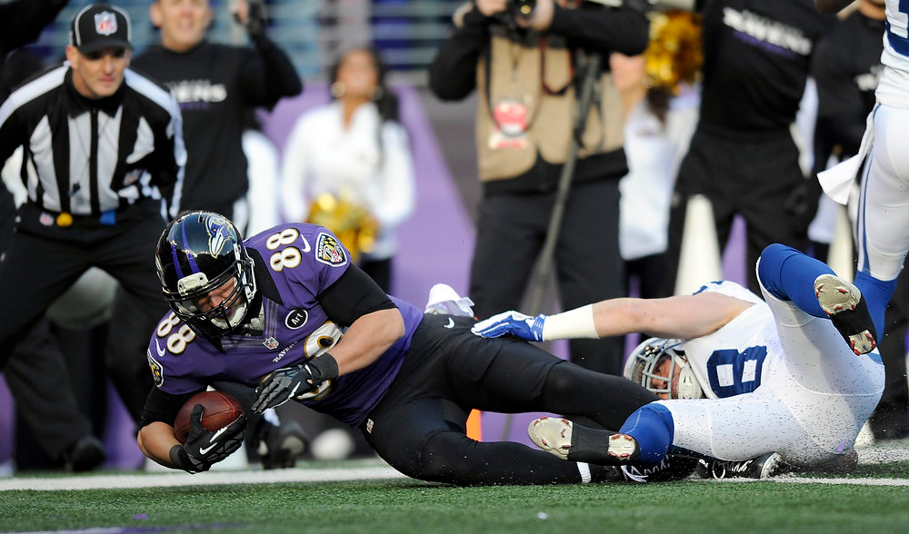 . Baltimore Ravens tight end Dennis Pitta (88) crosses the goal line for a touchdown as he is hit by Indianapolis Colts strong safety Tom Zbikowski (28) during the second half of an NFL wild card playoff football game Sunday, Jan. 6, 2013, in Baltimore. (AP Photo/Nick Wass)