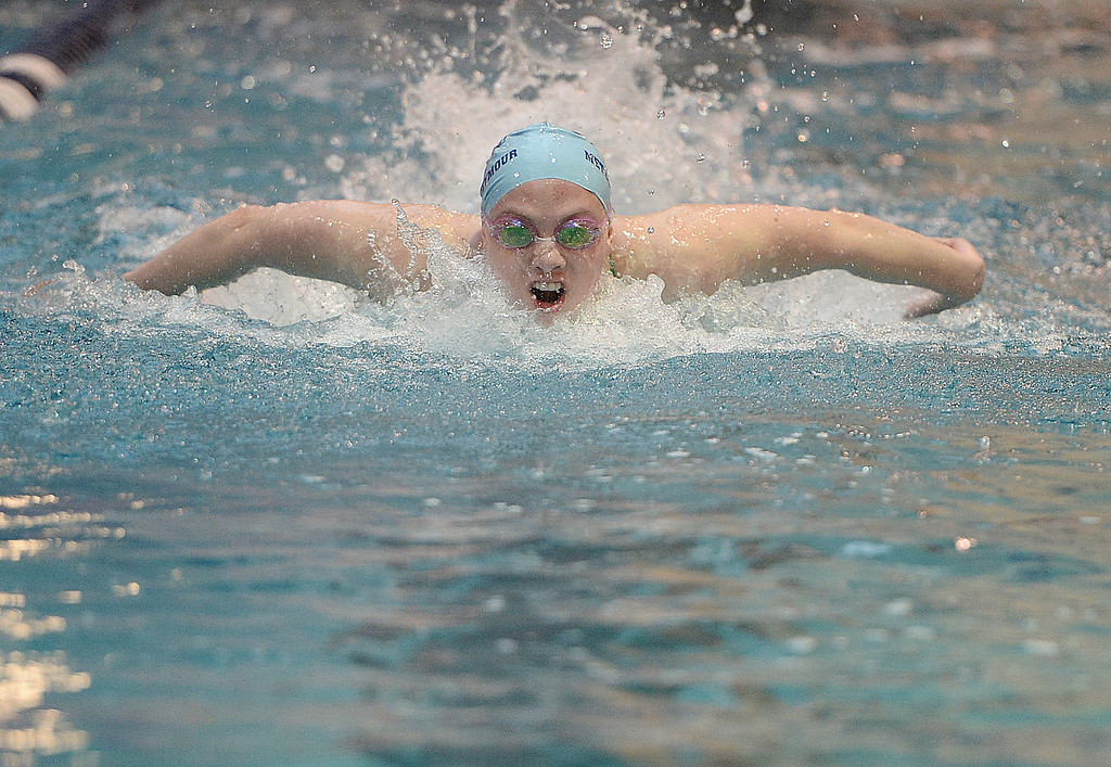. THORNTON, CO. - FEBRUARY 15, 2014: Ralston Valley High School swimmer Erin Metzger-Seymour competed in the 100-yard butterfly race Saturday. The CHSAA 5A Girl\'s State Swimming Championships wrapped up Saturday night February 14, 2104.  Photo By Karl Gehring/The Denver Post