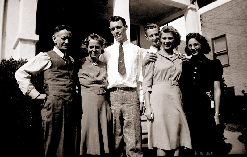 Elmer and Goldie Hopkins, Tom Little, Ermine and Larry Hopkins and Marjory Hamlin, in Martinez, California, probably after Donna and Tom's wedding, 16 November 1941.
