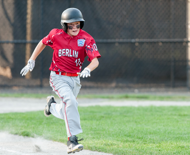 07/10/18  Wesley Bunnell | Staff  Toby Lavender (10) hustles down the first base line for a hit in the top of the sixth inning. Berlin 12U baseball was eliminated by Yalesville 2-0 on Tuesday evening at Bill Petit Complex.