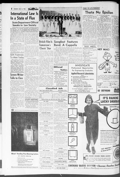 Daily Trojan, Vol. 47, No. 113, April 16, 1956