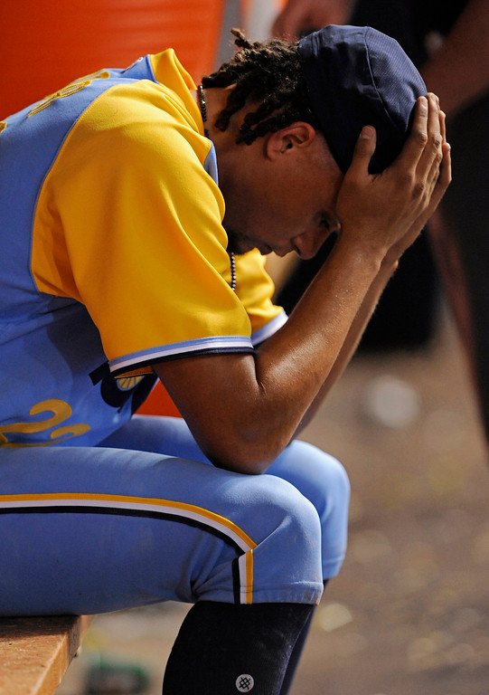 . Tampa Bay Rays starter Chris Archer sits on the bench in the dugout after he was pulled during the sixth inning of a baseball game against the Cleveland Indians on Saturday, Aug. 12, 2017, in St. Petersburg, Fla. (AP Photo/Steve Nesius)