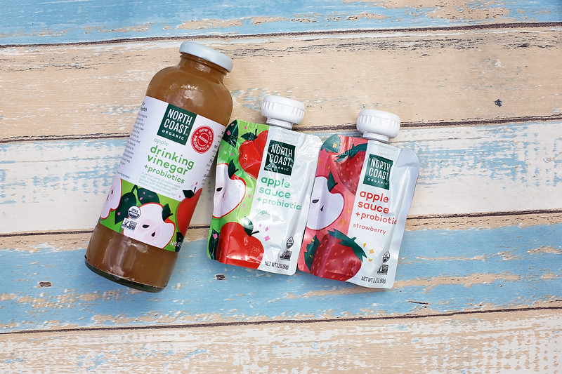 Probiotic apple sauce pouches and Probiotic Apple Drinking Vinegar from North Coast Organic