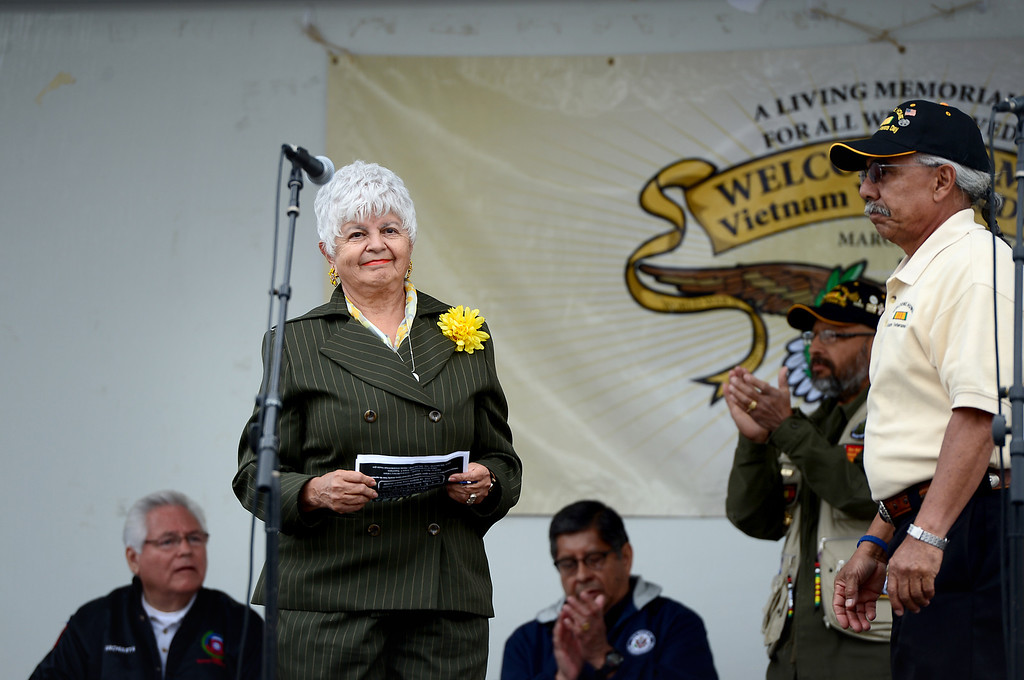 . Rep. Grace Napolitano speaks during Jose Ramos\' annual Welcome Home Vietnam Veterans Day is held at California High School in Whittier Saturday, April 13, 2013.  (SGVN/Staff Photo by Sarah Reingewirtz)