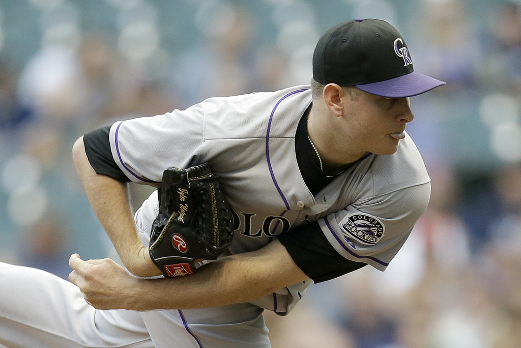 . MILWAUKEE, WI - JUNE 27: Tyler Matzek #46 of the Colorado Rockies pitches during the bottom of the first inning against the Milwaukee Brewers at Miller Park on June 27, 2014 in Milwaukee, Wisconsin. (Photo by Mike McGinnis/Getty Images)