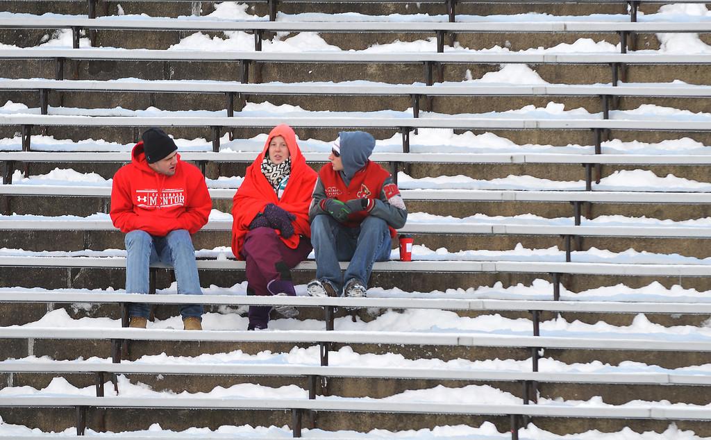 . Michael Allen Blair/ MBlair@News-Herald.com Mentor fans await the start of Saturday\'s Div I Highschool State Football Championship game versus Cincinnati at Fawcett Stadium in Canton, OH.
