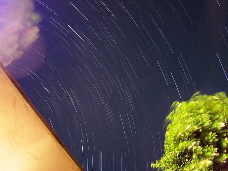 Star trails stack of 10/09/12 exposures.  20 second exposures at ISO 800 for a bit over an hour.