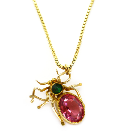 Antique Edwardian Gold Tone Pink Paste Spider Conversion Pendant Necklace Sold Out