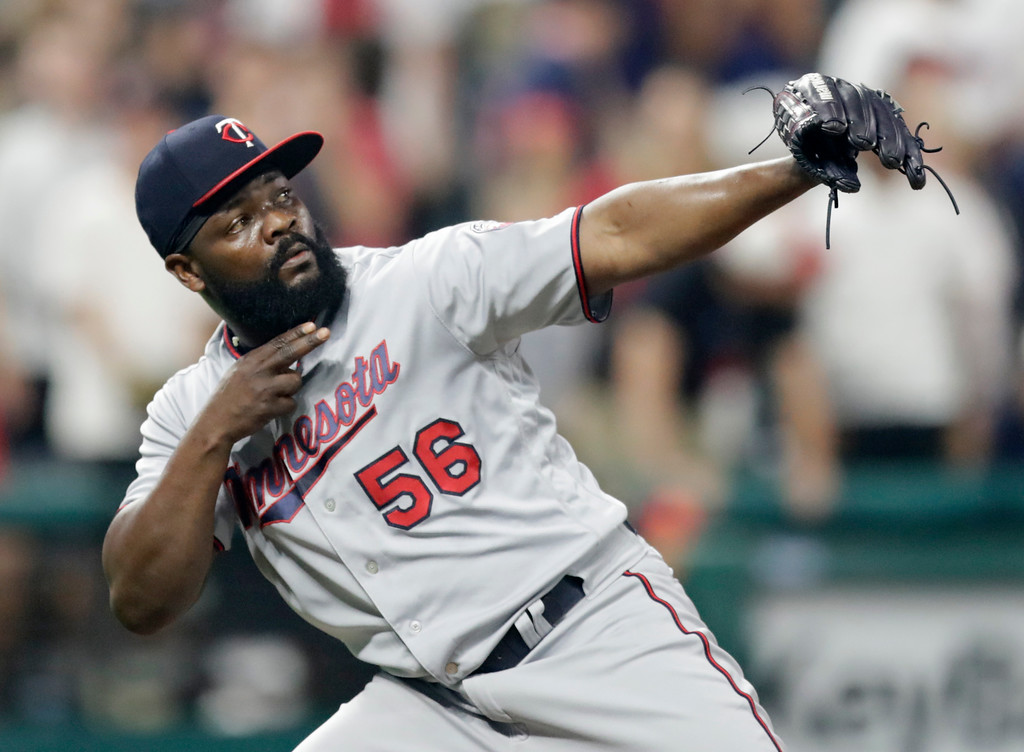 . Minnesota Twins relief pitcher Fernando Rodney celebrates after the Twins defeated the Cleveland Indians 3-2 in a baseball game Wednesday, Aug. 8, 2018, in Cleveland. (AP Photo/Tony Dejak)