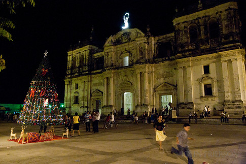 Christmas tree in front of the Basilica de la Asuncion