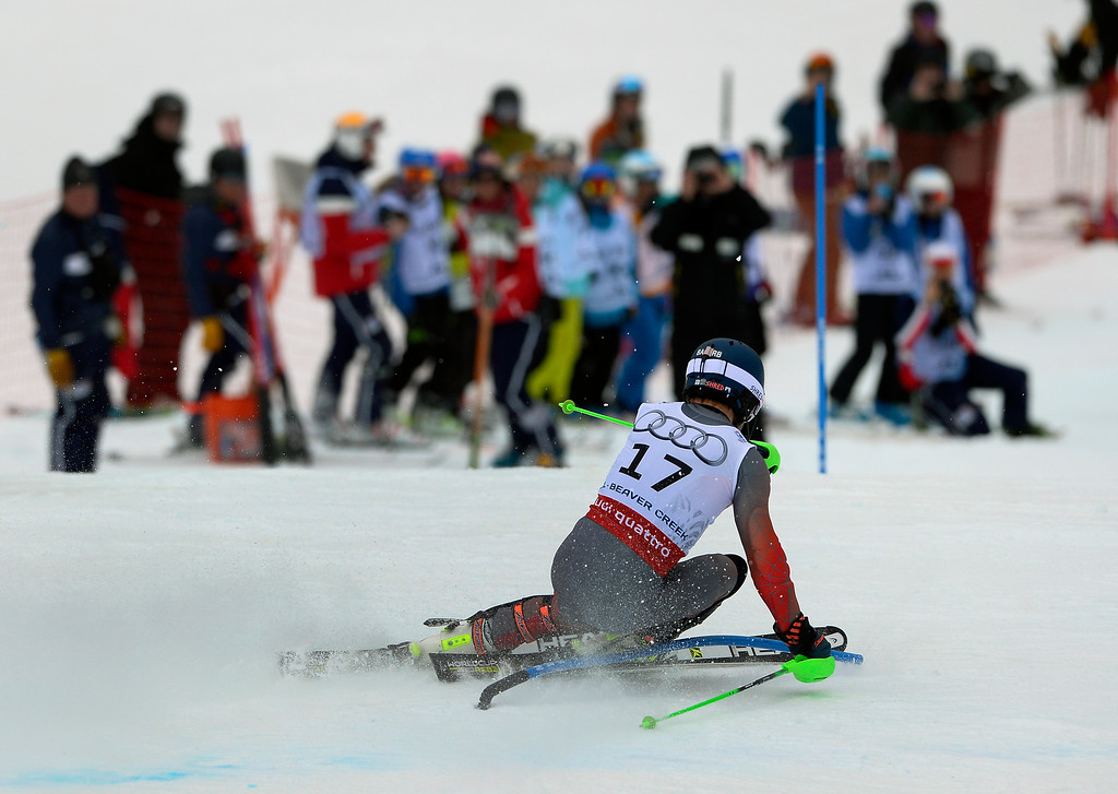 . BEAVER CREEK, CO - FEBRUARY 15: Ted LIgety of the United States competes in the first run of the Men\'s slalom during the FIS  Alpine World Ski Championships in Beaver Creek, CO. February 15, 2015. (Photo By Helen H. Richardson/The Denver Post)