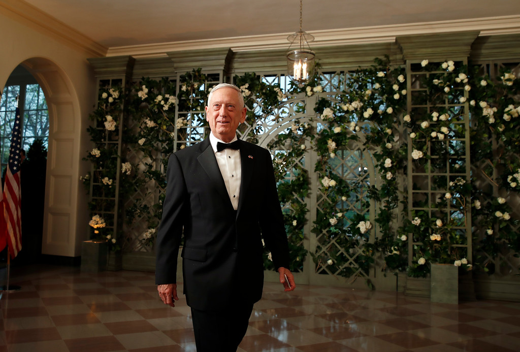 . Defense Secretary Jim Mattis arrives for a State Dinner with French President Emmanuel Macron and President Donald Trump at the White House, Tuesday, April 24, 2018, in Washington. (AP Photo/Alex Brandon)
