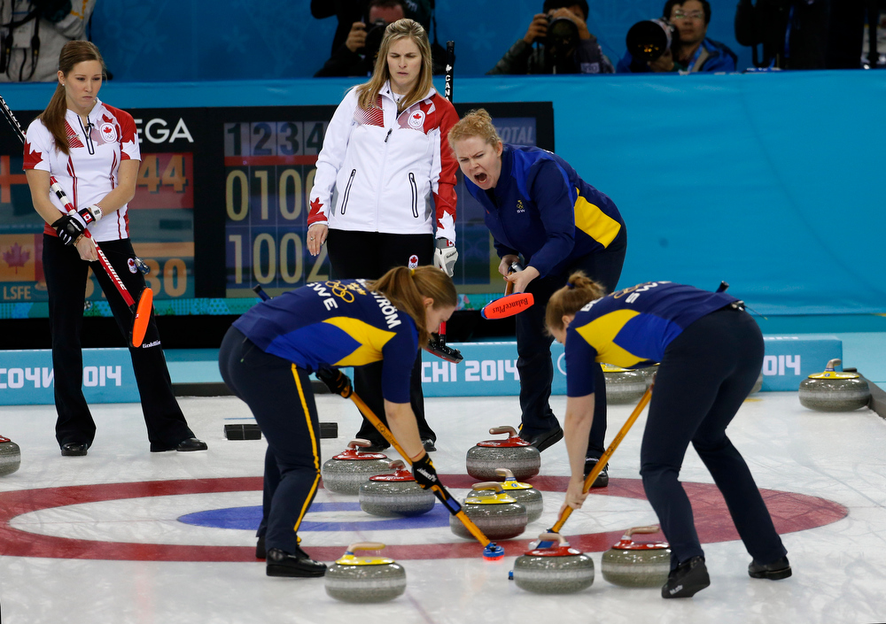 . Swedenís Margaretha Sigfridsson shouts from the house to her sweepers Maria Wennerstroem, left, and Christina Bertrup, as Canada\'s Kaitlyn Lawes, top left, and Jennifer Jones look on in the fifth end of the women\'s curling gold medal game against at the 2014 Winter Olympics, Thursday, Feb. 20, 2014, in Sochi, Russia. (AP Photo/Robert F. Bukaty)