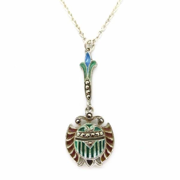Antique Art Deco Plique-à-jour Egyptian Revival Scarab Glass Marcasite Pendant Necklace