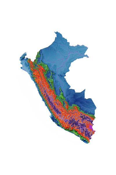 Elevation map of Peru