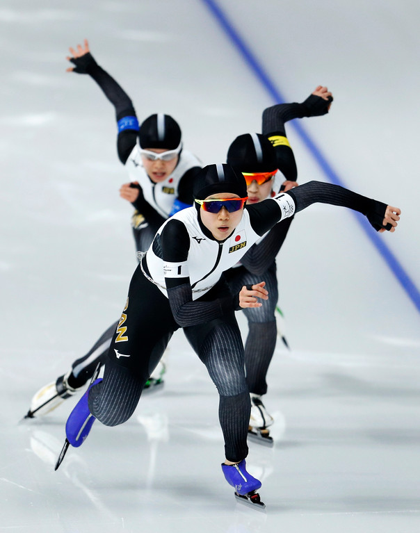 . Team Japan with Miho Takagi, front, Ayano Sato, center, and Nana Takagi, rear, competes during the quarterfinals of the women\'s team pursuit speedskating race at the Gangneung Oval at the 2018 Winter Olympics in Gangneung, South Korea, Monday, Feb. 19, 2018. (AP Photo/John Locher)