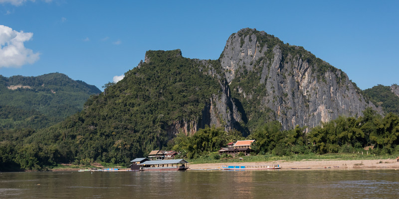River with mountains in background, River Mekong, Pak Ou District, Luang Prabang, Laos