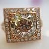 4.03ct Light Fancy Brown Antique Cushion Cut Diamond Halo Ring GIA LFB, SI1 12