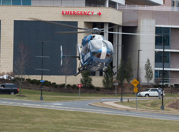 01/28/20 Wesley Bunnell | StaffrrA Lifestar Helicopter takes off in front of the Emergency Department at UCONN Medical Center in Farmington on Tuesday afternoon with a patient believed to be Fotis Dulos.