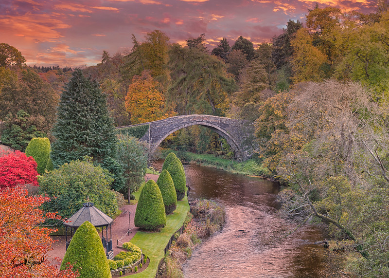 BrigO-Doon and Ayrshire Gardens that Commemorate Burns in Autumn and the Old Brigg at sunset Alloway By Ayr Scotland.