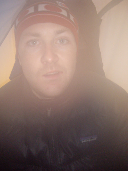 Wet and cold in the tent.