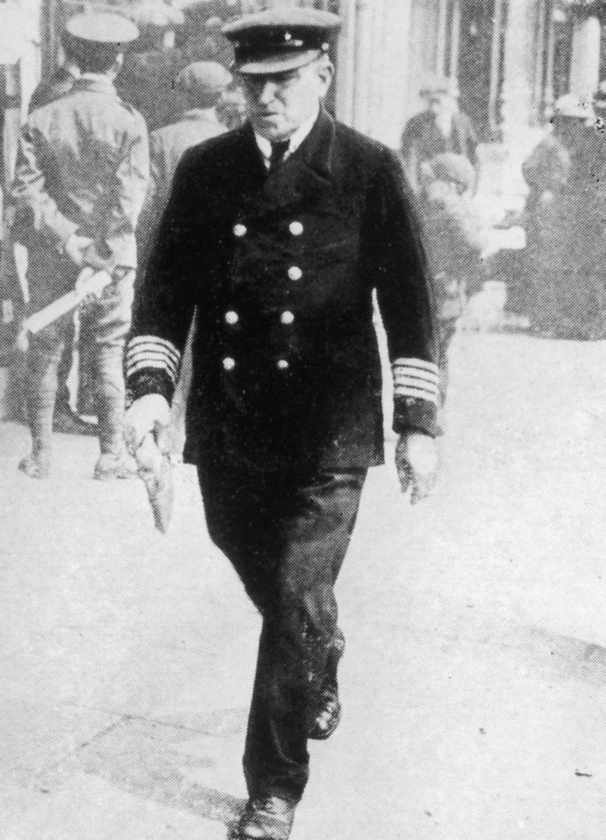 . May 15, 1915:  Captain William Turner (1856 - 1933), commander of he British passenger liner Lusitania, which had been sunk a week earlier by a German submarine with the loss of 1,198 lives.  (Photo by Hulton Archive/Getty Images)