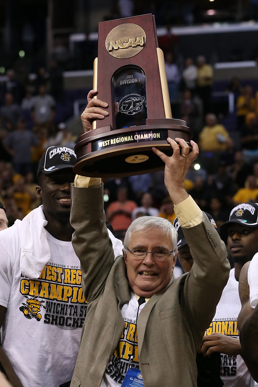 . President Dr. John Bardo of Wichita State University holds up the West Regional Trophy after defeating the Ohio State Buckeyes 70-66 during the West Regional Final of the 2013 NCAA Men\'s Basketball Tournament at Staples Center on March 30, 2013 in Los Angeles, California.  (Photo by Jeff Gross/Getty Images)