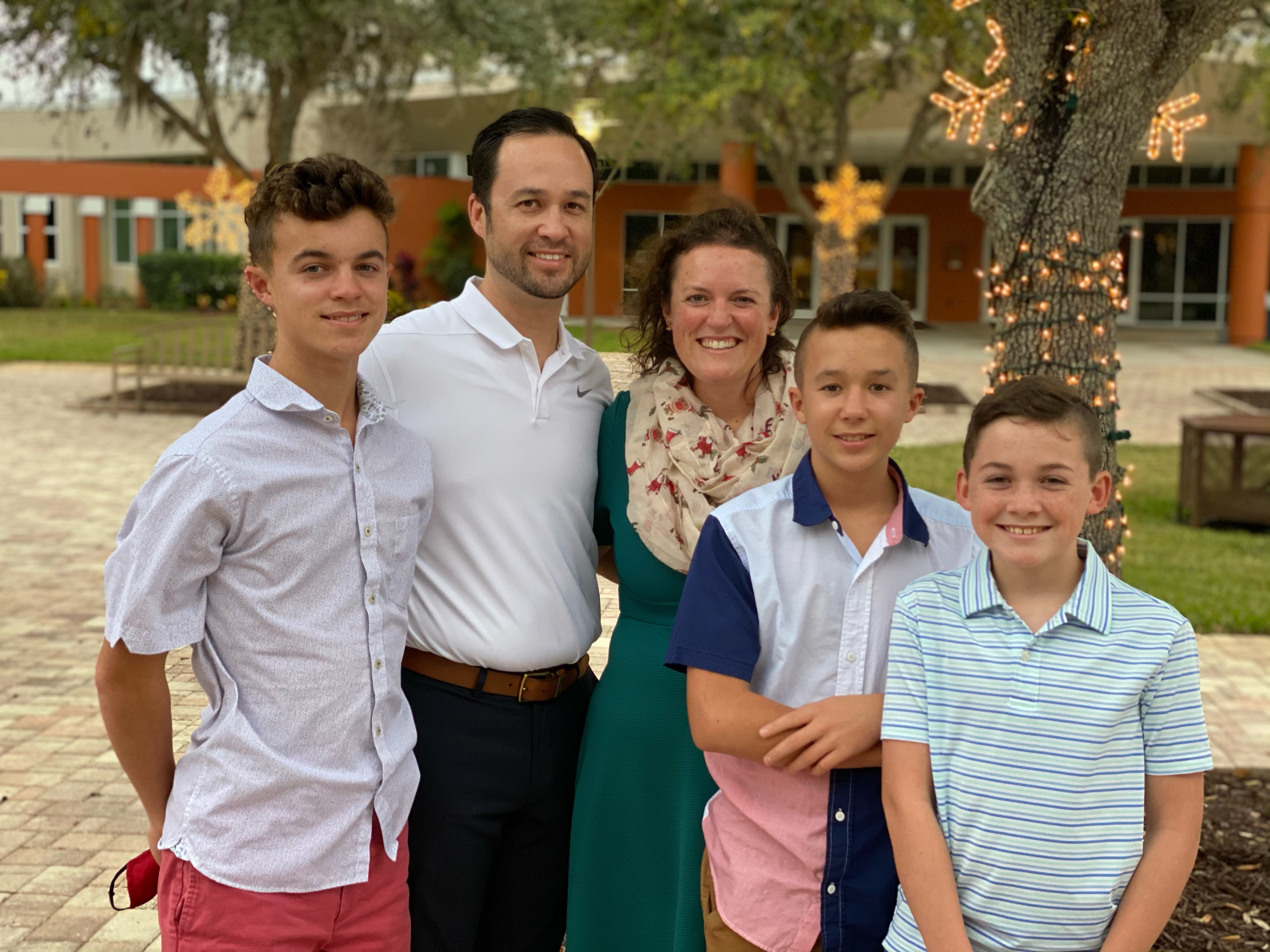 Dr. Crume and her family pictured left to right: Davis (15), Donald, '99, Allison, Dylan (13) and Donovan (12).