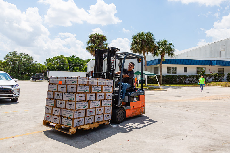 Cars line up for $10 boxes of fruits and vegetables at East Coast Farms & Vegetables in Lake Worth, on Thursday, March 26, 2020. East Coast Farms is usually a wholesaler oAn employee of East Coast Farms & Vegetables in Lake Worth, drives a forklift with a palette of boxes of fruits and vegetables to the drive-up line on Thursday, March 26, 2020. East Coast Farms is usually a wholesaler of farm-fresh fruits and vegetables, but for the past week, they have operated as a curbside pickup for the community. They offer $10 boxes of farm-fresh produce and a la carte items, such as melons and pineapples. [JOSEPH FORZANO/palmbeachpost.com]