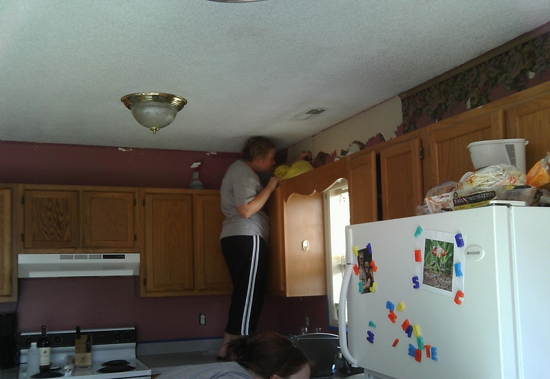 Getting rid of the border and the PINK kitchen!