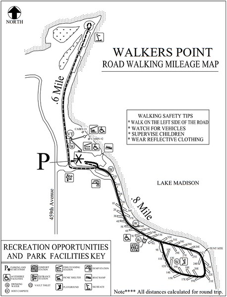 Walkers Point Recreation Area (Road Walking Map)