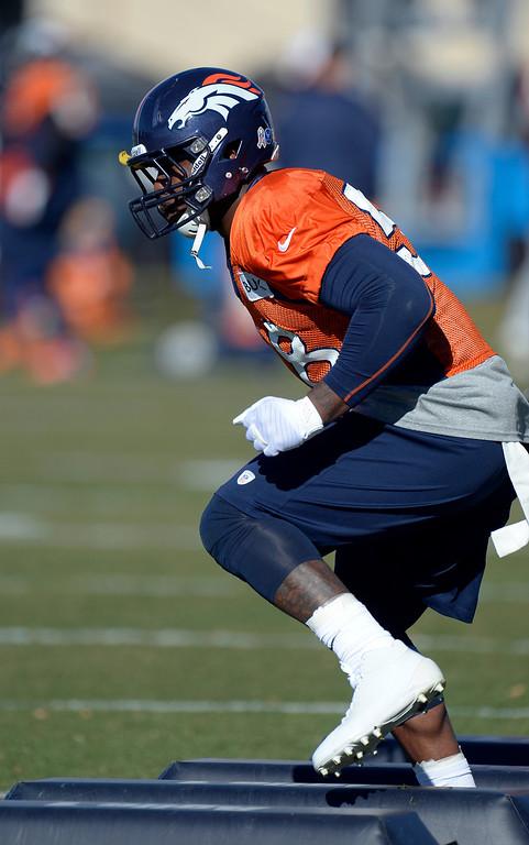 . Denver Broncos outside linebacker Von Miller (58) runs through drills during practice November 20, 2013 at Dove Valley (Photo by John Leyba/The Denver Post)
