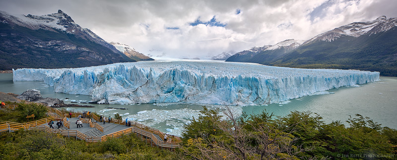 Perrito Moreno glacier in Patagonian Argentina. Hard to tell from this wide-angle panorama, but this glacier face is 20 stories tall, and almost 3 miles wide!