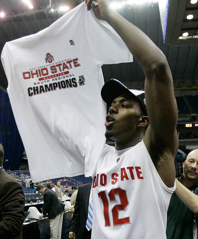 . Ohio State guard Ron Lewis celebrates after beating Memphis 92-76 in the  NCAA South Regional final basketball game at the Alamodome in San Antonio Saturday, March 24, 2007. Ohio State beat Memphis 92-76.  (AP Photo/Eric Gay)