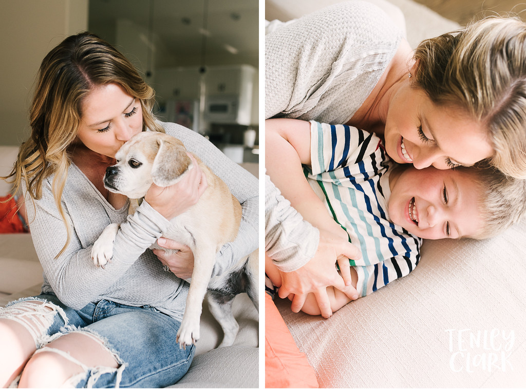 Lifestyle in-home family photoshoot with snuggles, couch forts, baking, guitar, baseball, and playing cards. By Tenley Clark Photography.