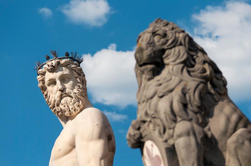 Close-up of Fountain of Neptune, Piazza della Signoria, Florence (Firenze), Tuscany (Toscana), Italy