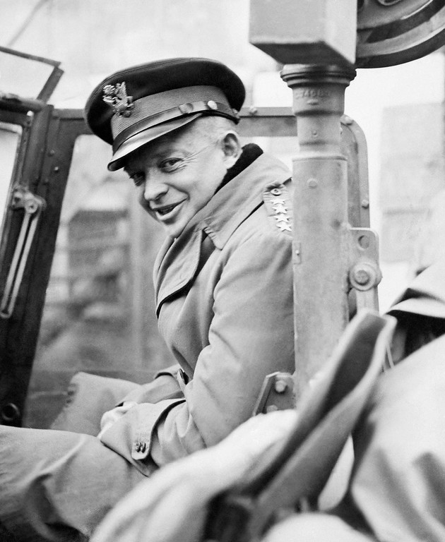 . 1944: Dwight D. Eisenhower. General Dwight D. Eisenhower, Supreme Allied commander, leaves his closed staff car behind because of the mud and boards a jeep in Europe to start on his recent tour of the fighting front in November 1944. (AP Photo)