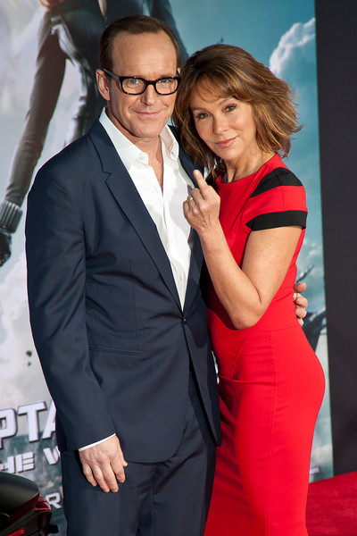 HOLLYWOOD, CA - MARCH 13: Actors Clark Gregg (L) and Jennifer Grey arrive at Marvel's 'Captain America: The Winter Soldier' premiere at the El Capitan Theatre onThursday,  March 13, 2014 in Hollywood, California. (Photo by Tom Sorensen/Moovieboy Pictures)