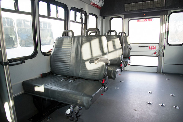 01/15/20 Wesley Bunnell | StaffrrA tour of the Greater Hartford Transit District office in East Hartford along with staff from ADA Paratransit service. A bus with partial seats folded down.