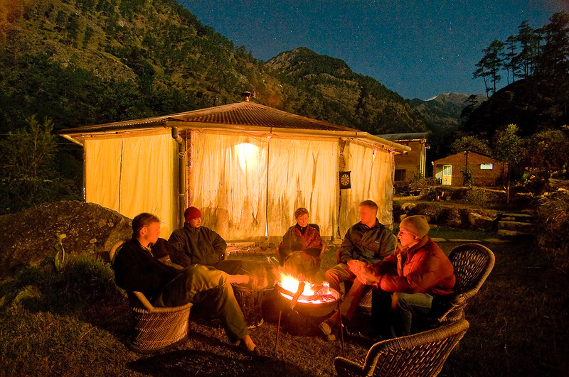 Masheer camp in the Himalayan Mountains, India