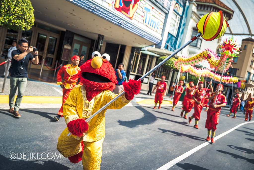 Universal Studios Singapore Park Update February 2018 Chinese New Year - Majestic Dragon Trail / Elmo takes the lead