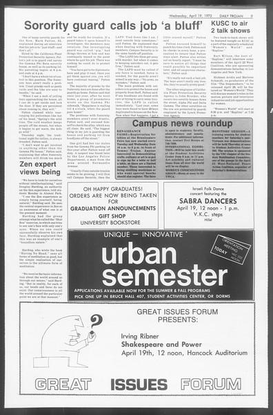 Daily Trojan, Vol. 64, No. 107, April 19, 1972