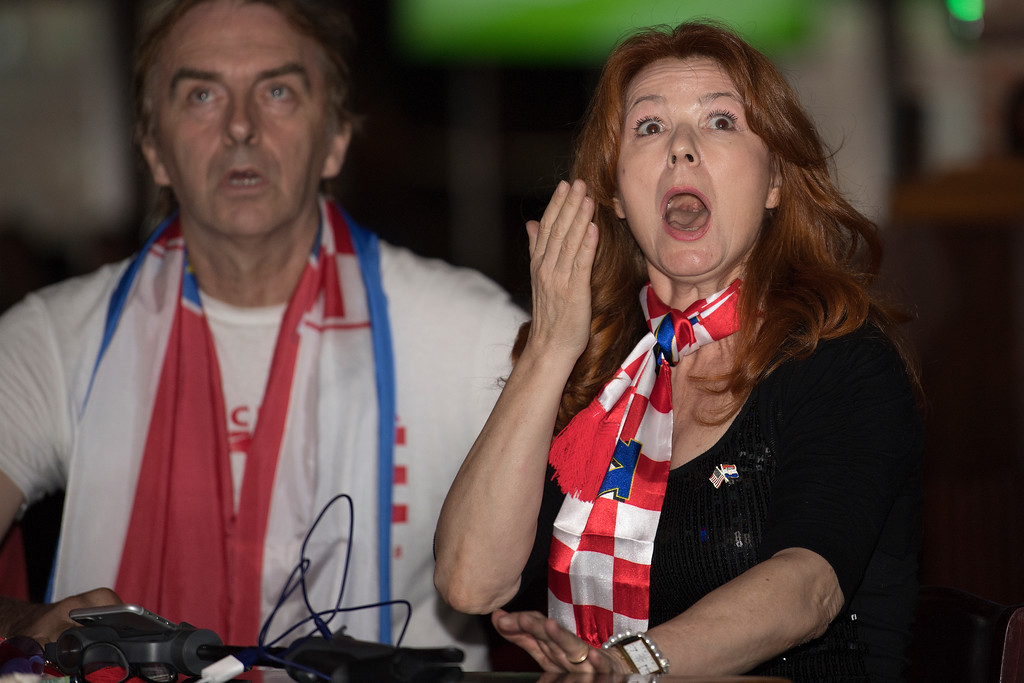 . Croatian Americans, Kiack Kacic-Miosic, left, and Tommy Mischell, react during the second half of the televised World Cup game against France at Chickie\'s and Pete\'s in South Philadelphia. Sunday, July 15, 2018.  (Jose F. Moreno/The Philadelphia Inquirer via AP)