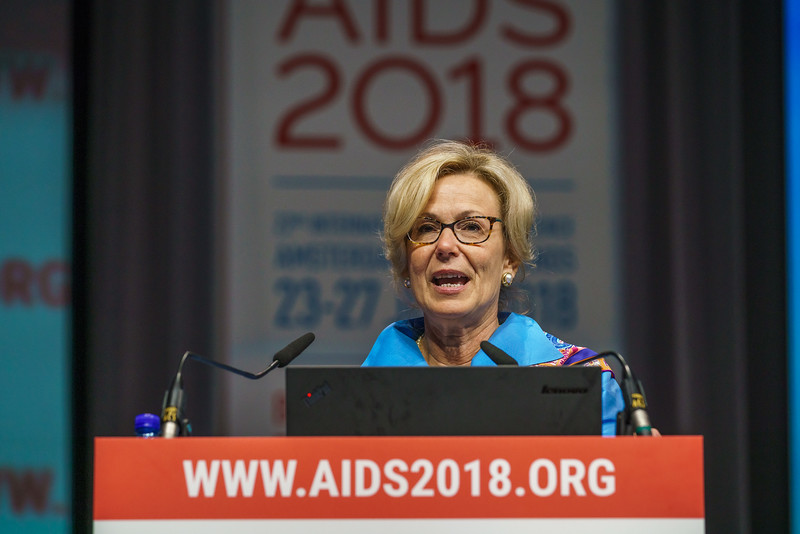 22nd International AIDS Conference (AIDS 2018) Amsterdam, Netherlands.   Copyright: Matthijs Immink/IAS Durable control of HIV infections in the absence of antiretroviral therapy: Opportunities and obstacles and Jonathan Mann Memorial Lecture: Data to drive equity Photo shows:  Deborah L. Birx